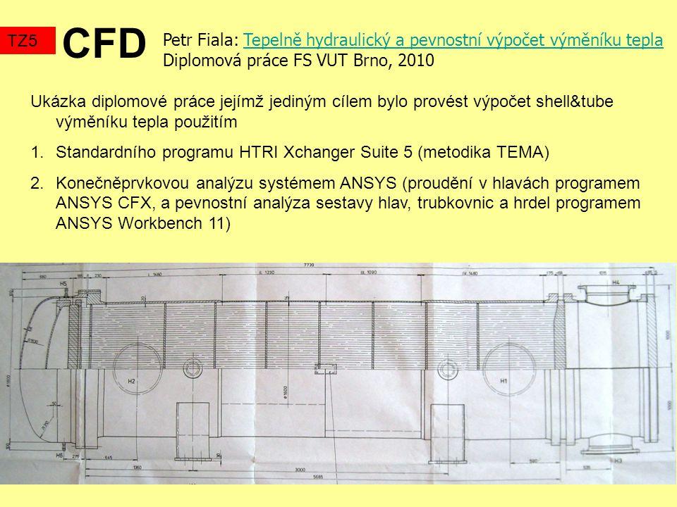 CFD TZ5 Petr Fiala: Tepelně hydraulický a pevnostní výpočet výměníku teplaTepelně hydraulický a pevnostní výpočet výměníku tepla Diplomová práce FS VUT Brno, 2010 Ukázka diplomové práce jejímž jediným cílem bylo provést výpočet shell&tube výměníku tepla použitím 1.Standardního programu HTRI Xchanger Suite 5 (metodika TEMA) 2.Konečněprvkovou analýzu systémem ANSYS (proudění v hlavách programem ANSYS CFX, a pevnostní analýza sestavy hlav, trubkovnic a hrdel programem ANSYS Workbench 11)