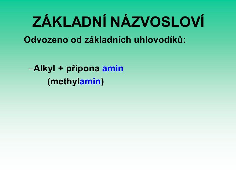ZÁKLADNÍ NÁZVOSLOVÍ Odvozeno od základních uhlovodíků: –Alkyl + přípona amin (methylamin)