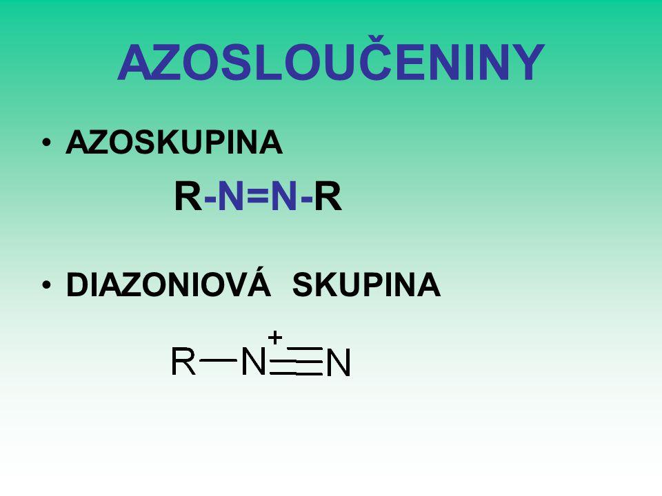 AZOSLOUČENINY AZOSKUPINA R-N=N-R DIAZONIOVÁ SKUPINA