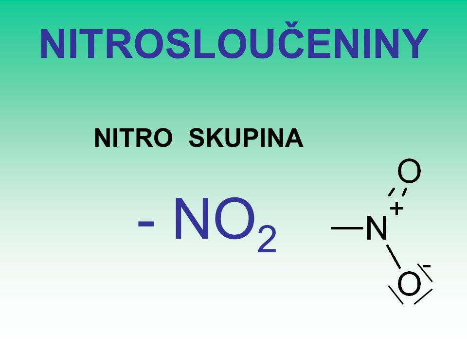 ZÁKLADNÍ NÁZVOSLOVÍ Odvozeno od základních uhlovodíků: HLAVNÍ SKUPINA –Předpona -nitro + uhlovodík (nitromethan)
