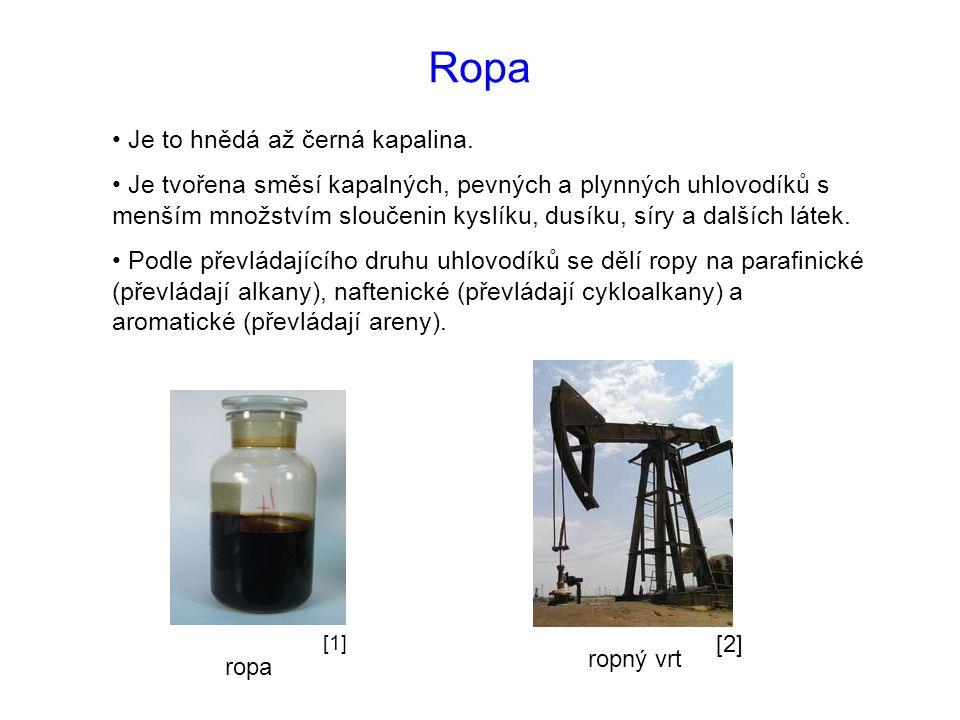 Ropa Je to hnědá až černá kapalina. Je tvořena směsí kapalných, pevných a plynných uhlovodíků s menším množstvím sloučenin kyslíku, dusíku, síry a dal
