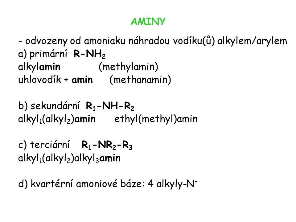 AMINY - odvozeny od amoniaku náhradou vodíku(ů) alkylem/arylem a) primární R-NH 2 alkylamin (methylamin) uhlovodík + amin (methanamin) b) sekundární R