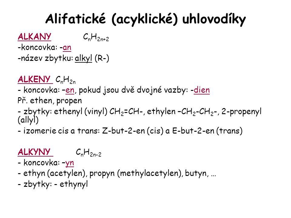 Alifatické (acyklické) uhlovodíky ALKANY C n H 2n+2 -koncovka: -an -název zbytku: alkyl (R-) ALKENY C n H 2n - koncovka: –en, pokud jsou dvě dvojné va