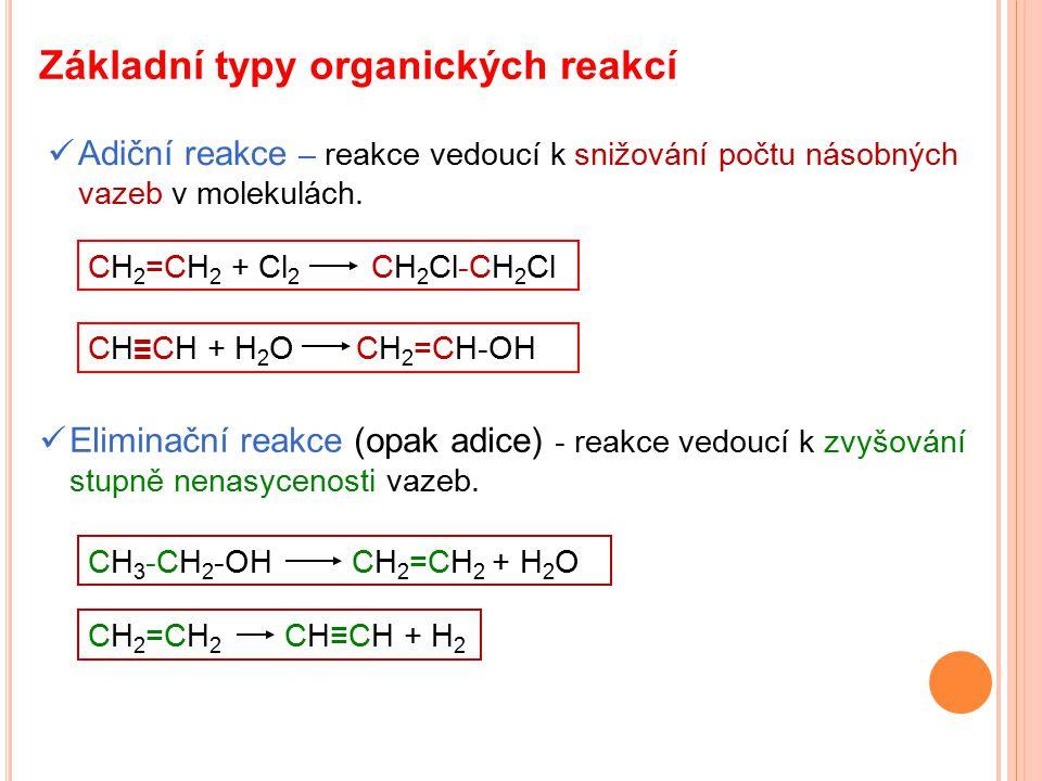 Základní typy organických reakcí Adiční reakce – reakce vedoucí k snižování počtu násobných vazeb v molekulách. CH 2 =CH 2 + Cl 2 CH 2 Cl-CH 2 Cl CH≡C
