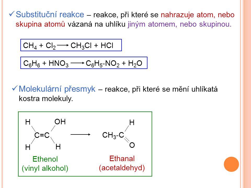 Substituční reakce – reakce, při které se nahrazuje atom, nebo skupina atomů vázaná na uhlíku jiným atomem, nebo skupinou. CH 4 + Cl 2 CH 3 Cl + HCl C