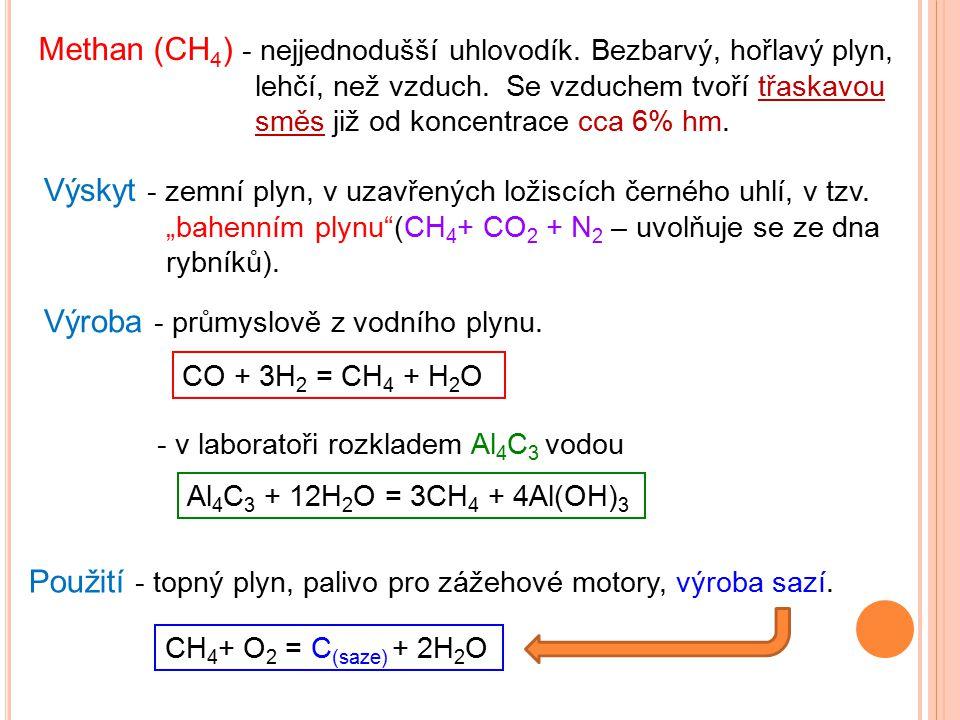 Methan (CH 4 ) - nejjednodušší uhlovodík. Bezbarvý, hořlavý plyn, lehčí, než vzduch. Se vzduchem tvoří třaskavou směs již od koncentrace cca 6% hm. Vý