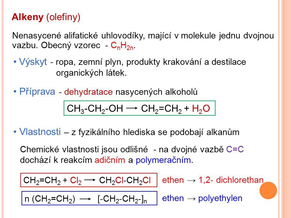 Alkeny (olefiny) Nenasycené alifatické uhlovodíky, mající v molekule jednu dvojnou vazbu. Obecný vzorec - C n H 2n. Výskyt - ropa, zemní plyn, produkt