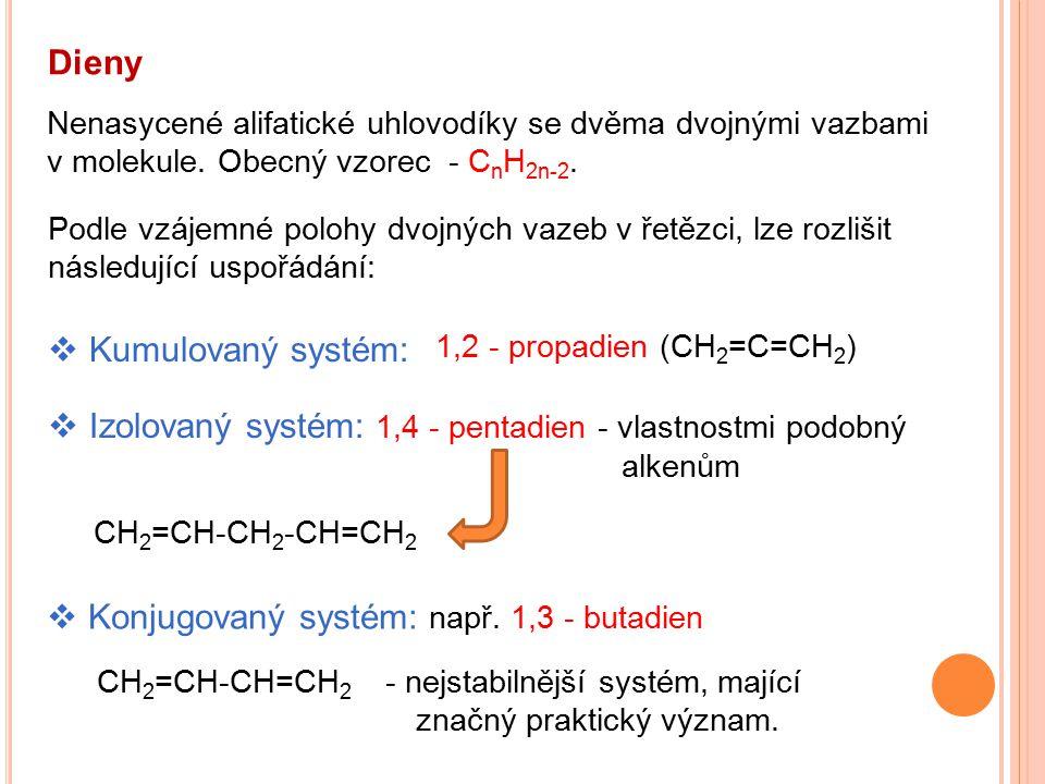 Dieny Nenasycené alifatické uhlovodíky se dvěma dvojnými vazbami v molekule. Obecný vzorec - C n H 2n-2.  Kumulovaný systém:  Izolovaný systém: 1,4