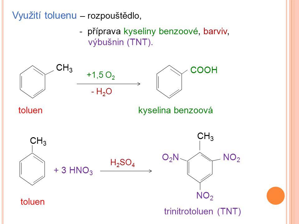 Využití toluenu – rozpouštědlo, - příprava kyseliny benzoové, barviv, výbušnin (TNT). +1,5 O 2 COOH - H 2 O toluenkyselina benzoová toluen + 3 HNO 3 H