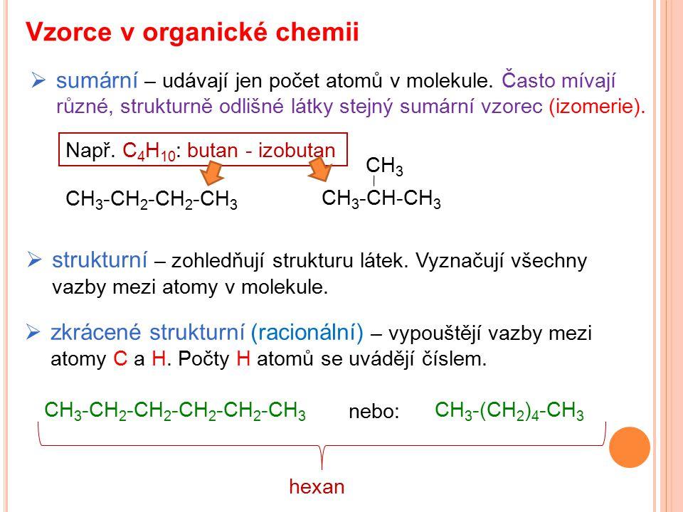 Vzorce v organické chemii  sumární – udávají jen počet atomů v molekule. Často mívají různé, strukturně odlišné látky stejný sumární vzorec (izomerie
