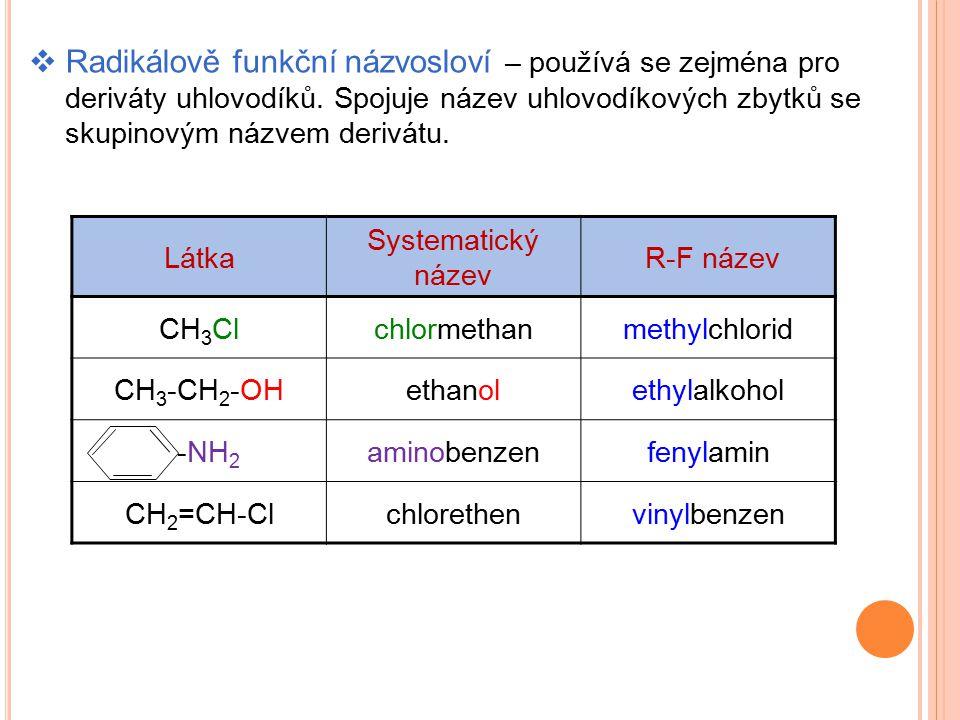  Radikálově funkční názvosloví – používá se zejména pro deriváty uhlovodíků. Spojuje název uhlovodíkových zbytků se skupinovým názvem derivátu. Látka