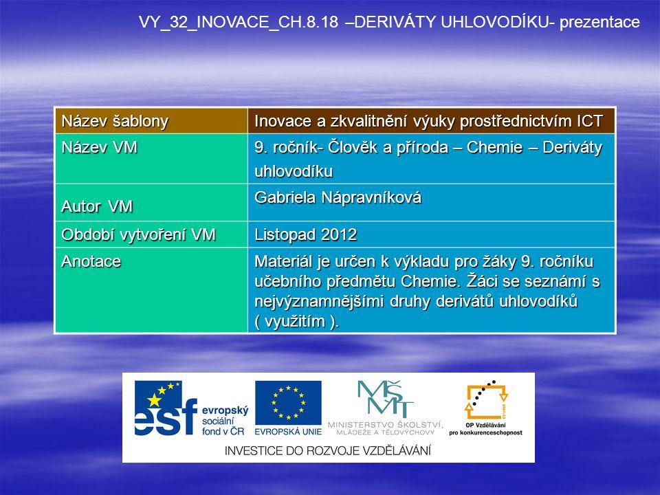 VY_32_INOVACE_CH.8.18 –DERIVÁTY UHLOVODÍKU- prezentace Název šablony Inovace a zkvalitnění výuky prostřednictvím ICT Název VM 9.