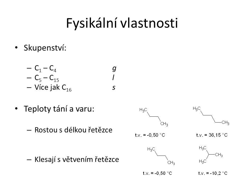 Fysikální vlastnosti Skupenství: – C 1 – C 4 g – C 5 – C 15 l – Více jak C 16 s Teploty tání a varu: – Rostou s délkou řetězce – Klesají s větvením ře