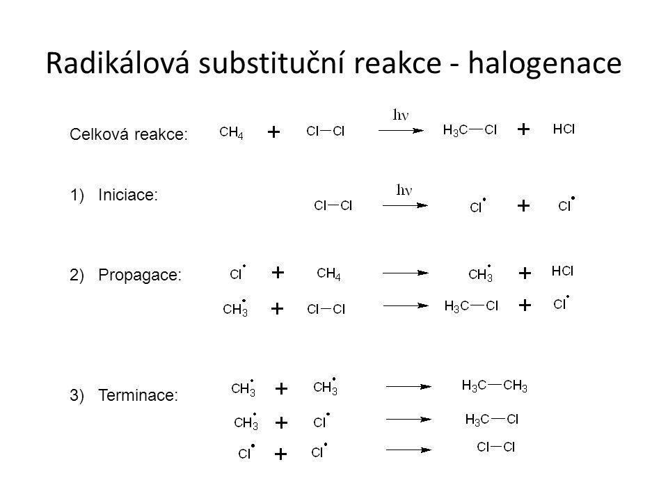 Radikálová substituční reakce - halogenace Celková reakce: 1) Iniciace: 2) Propagace: 3) Terminace: