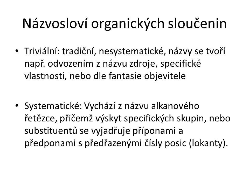 Názvosloví organických sloučenin Triviální: tradiční, nesystematické, názvy se tvoří např. odvozením z názvu zdroje, specifické vlastnosti, nebo dle f