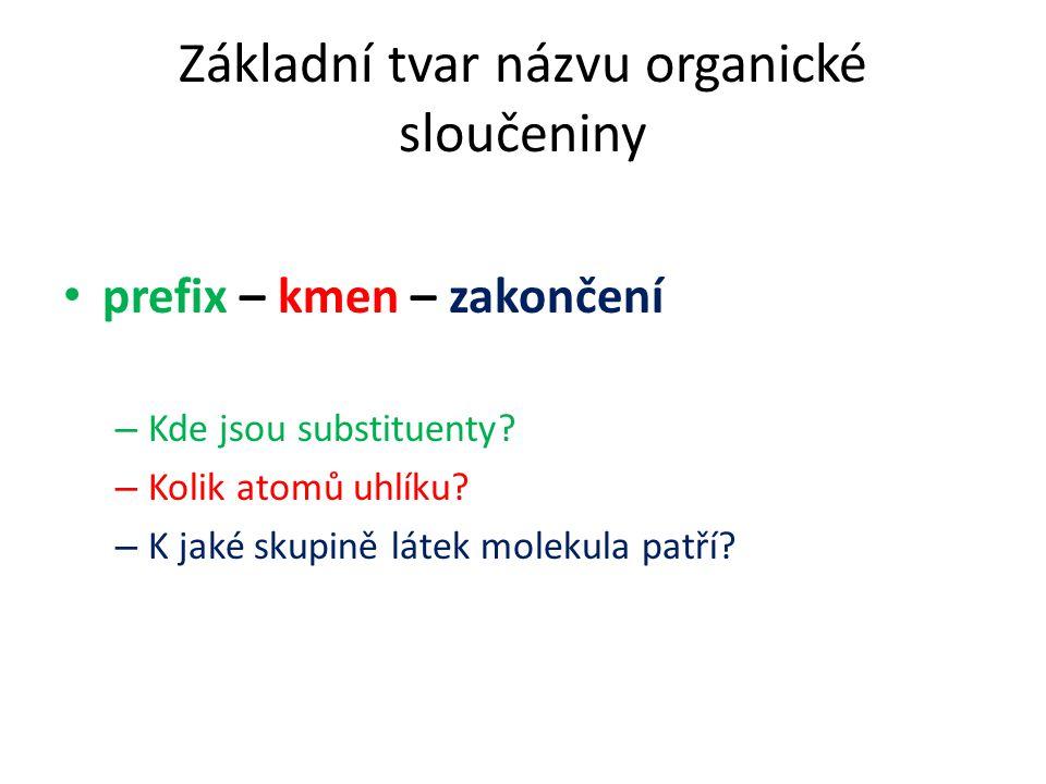 Základní tvar názvu organické sloučeniny prefix – kmen – zakončení – Kde jsou substituenty? – Kolik atomů uhlíku? – K jaké skupině látek molekula patř