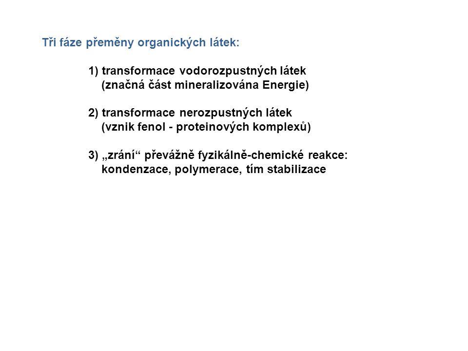 """Tři fáze přeměny organických látek: 1) transformace vodorozpustných látek (značná část mineralizována Energie) 2) transformace nerozpustných látek (vznik fenol - proteinových komplexů) 3) """"zrání převážně fyzikálně-chemické reakce: kondenzace, polymerace, tím stabilizace"""