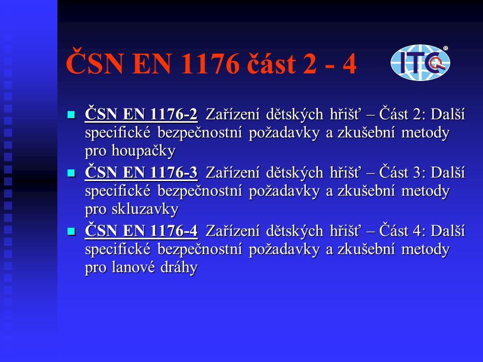 ČSN EN 1176 část 2 - 4 ČSN EN 1176-2 Zařízení dětských hřišť – Část 2: Další specifické bezpečnostní požadavky a zkušební metody pro houpačky ČSN EN 1