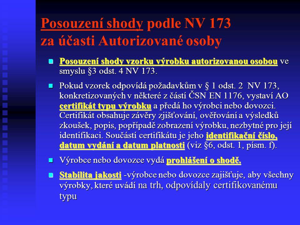 Posouzení shody podle NV 173 za účasti Autorizované osoby Posouzení shody vzorku výrobku autorizovanou osobou ve smyslu §3 odst. 4 NV 173. Posouzení s