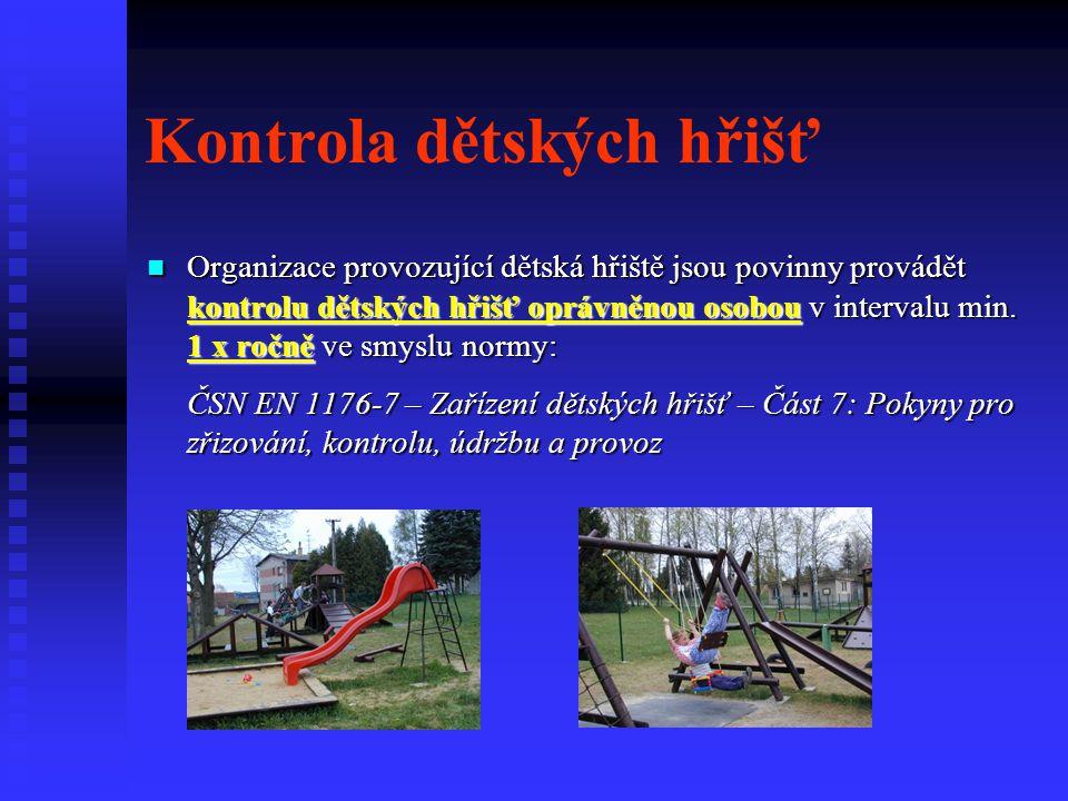 Kontrola dětských hřišť Organizace provozující dětská hřiště jsou povinny provádět kontrolu dětských hřišť oprávněnou osobou v intervalu min. 1 x ročn