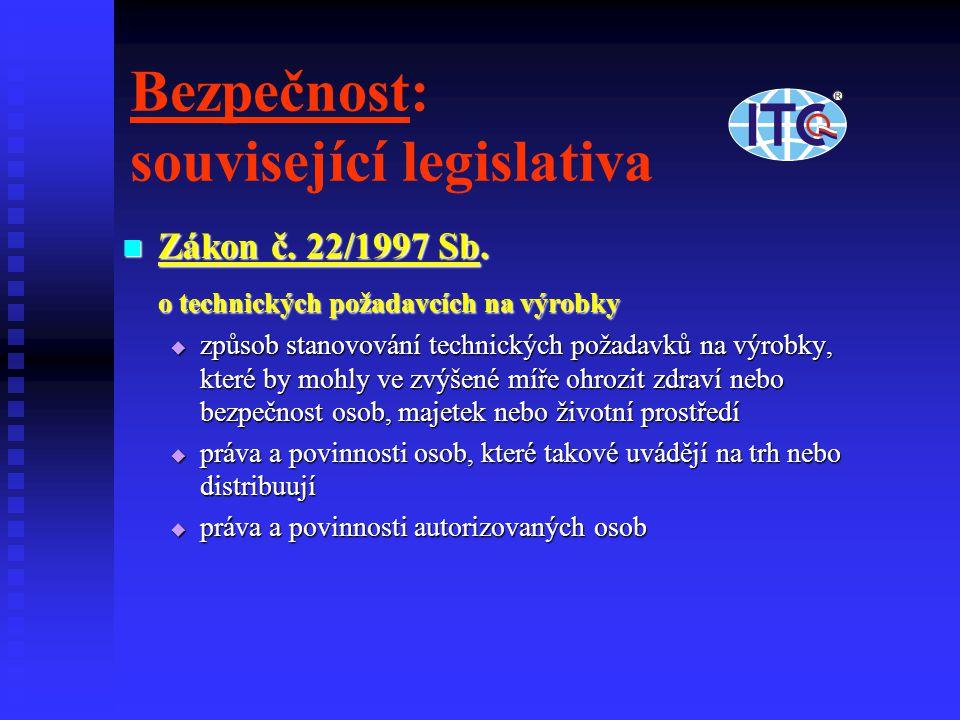 Bezpečnost: související legislativa Zákon č. 22/1997 Sb. Zákon č. 22/1997 Sb. o technických požadavcích na výrobky  způsob stanovování technických po