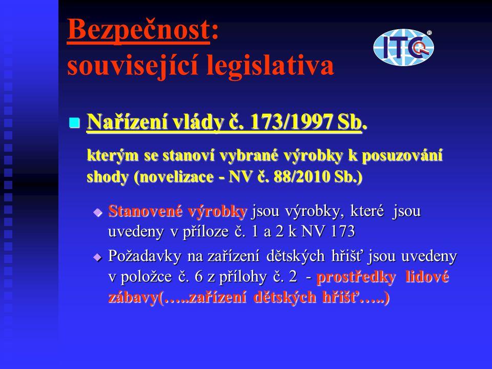 Bezpečnost: související legislativa Nařízení vlády č. 173/1997 Sb. Nařízení vlády č. 173/1997 Sb. kterým se stanoví vybrané výrobky k posuzování shody