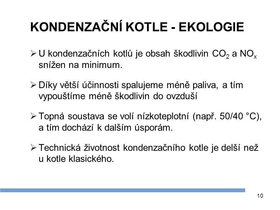 10 KONDENZAČNÍ KOTLE - EKOLOGIE  U kondenzačních kotlů je obsah škodlivin CO 2 a NO x snížen na minimum.  Díky větší účinnosti spalujeme méně paliva