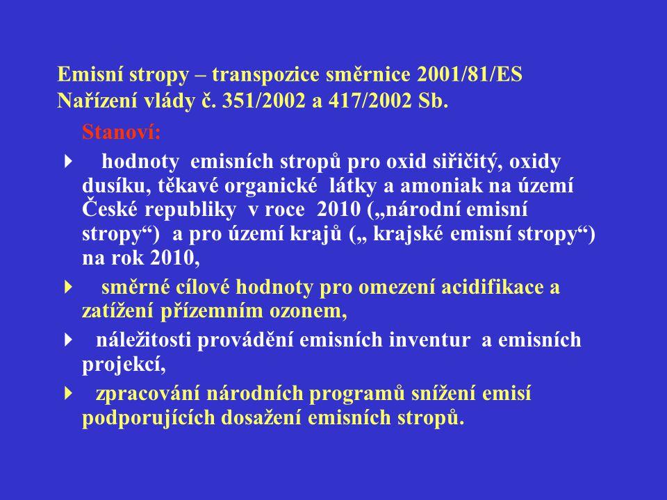 Emisní stropy – transpozice směrnice 2001/81/ES Nařízení vlády č. 351/2002 a 417/2002 Sb. Stanoví:  hodnoty emisních stropů pro oxid siřičitý, oxidy