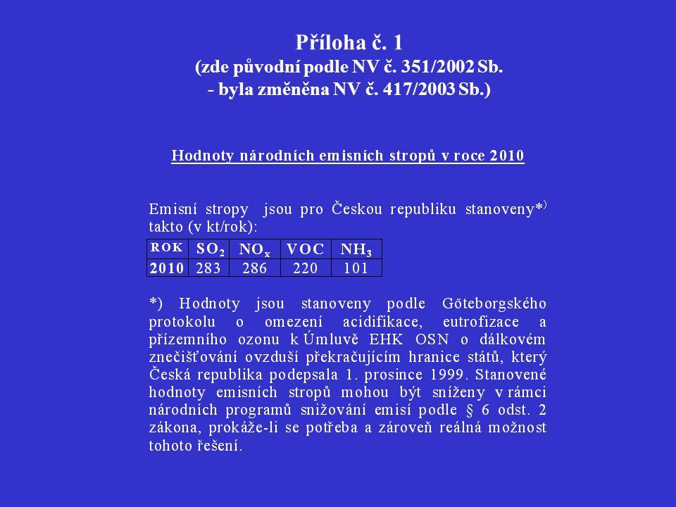 Příloha č. 1 (zde původní podle NV č. 351/2002 Sb. - byla změněna NV č. 417/2003 Sb.)