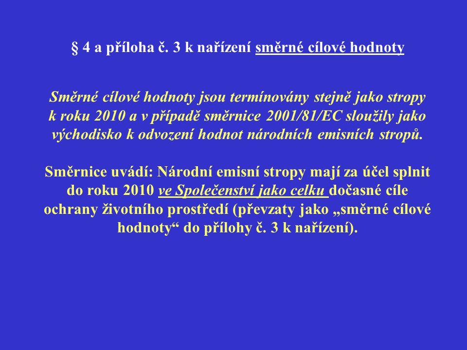 § 4 a příloha č. 3 k nařízení směrné cílové hodnoty Směrné cílové hodnoty jsou termínovány stejně jako stropy k roku 2010 a v případě směrnice 2001/81