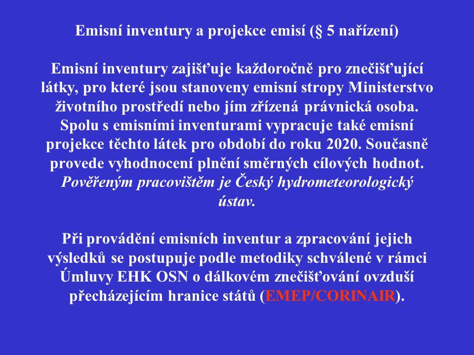 Emisní inventury a projekce emisí (§ 5 nařízení) Emisní inventury zajišťuje každoročně pro znečišťující látky, pro které jsou stanoveny emisní stropy