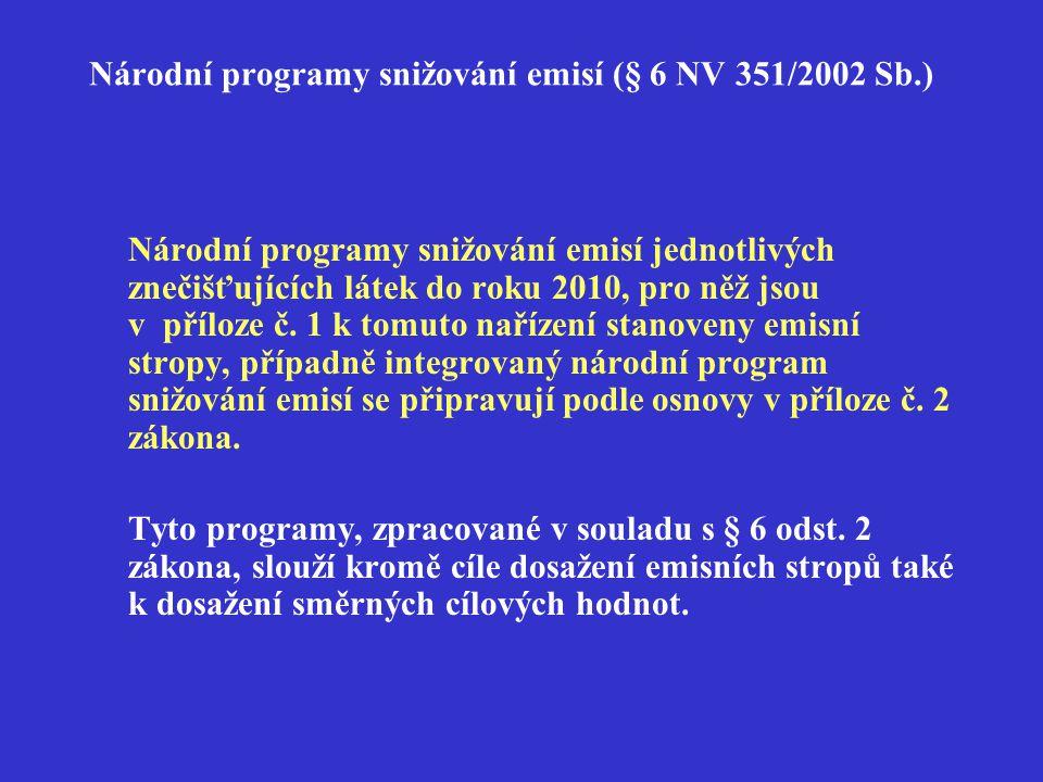 Národní programy snižování emisí (§ 6 NV 351/2002 Sb.) Národní programy snižování emisí jednotlivých znečišťujících látek do roku 2010, pro něž jsou v příloze č.