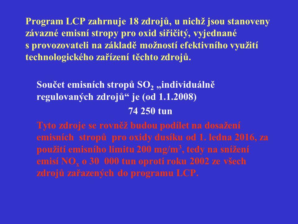 Program LCP zahrnuje 18 zdrojů, u nichž jsou stanoveny závazné emisní stropy pro oxid siřičitý, vyjednané s provozovateli na základě možností efektivn