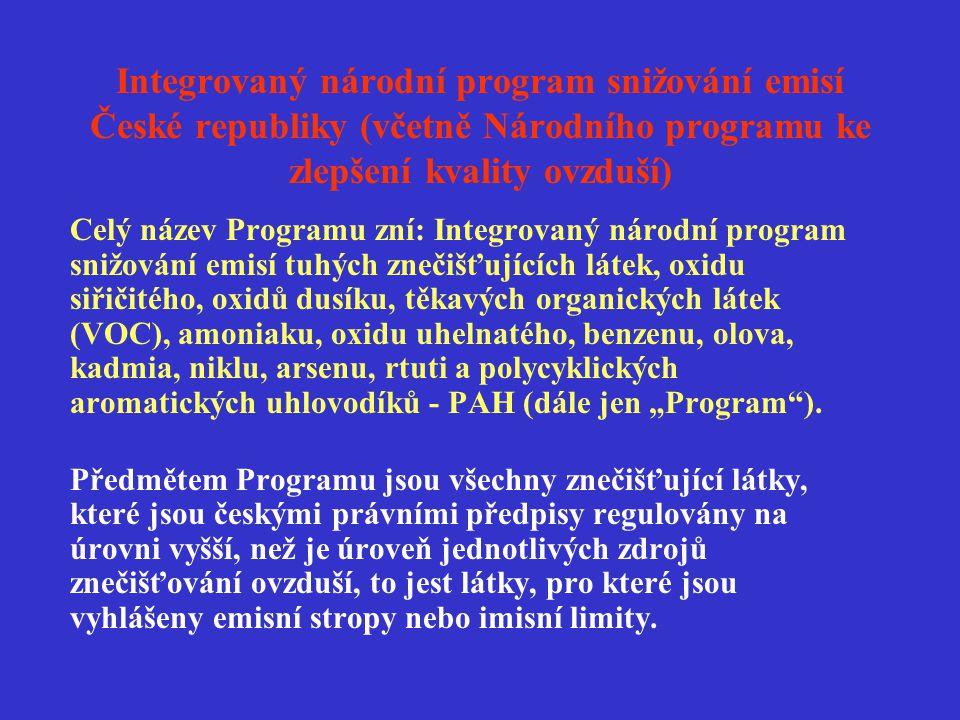 Integrovaný národní program snižování emisí České republiky (včetně Národního programu ke zlepšení kvality ovzduší) Celý název Programu zní: Integrova