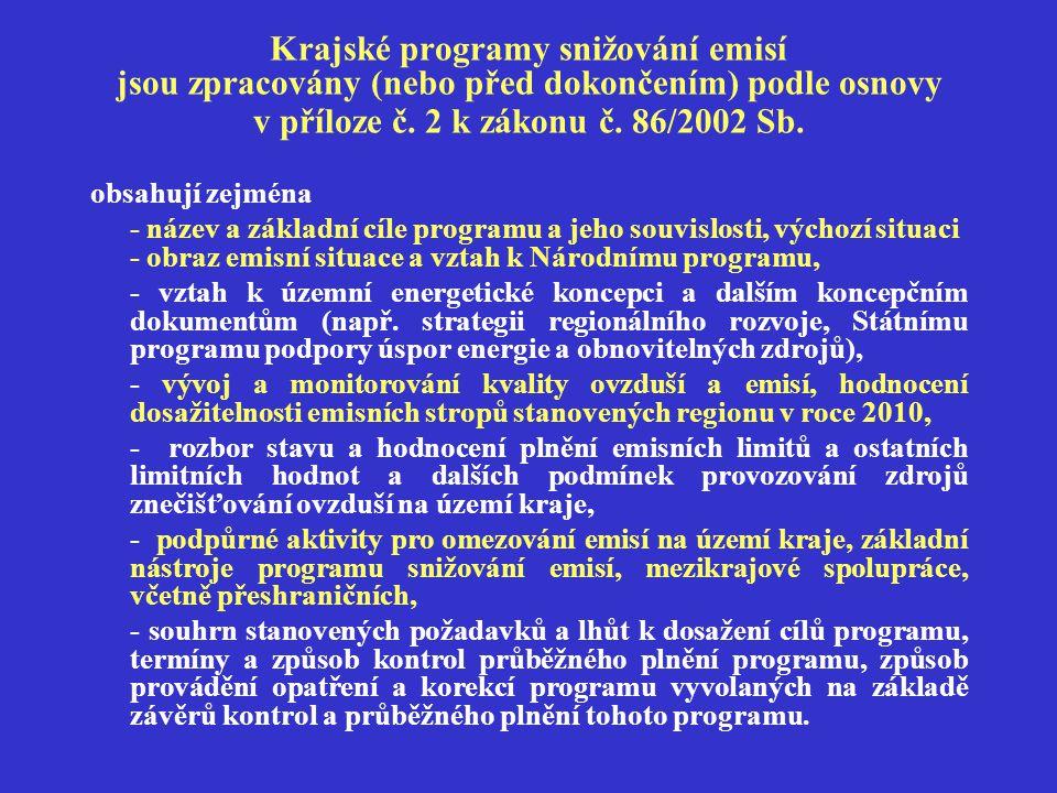 Krajské programy snižování emisí jsou zpracovány (nebo před dokončením) podle osnovy v příloze č.