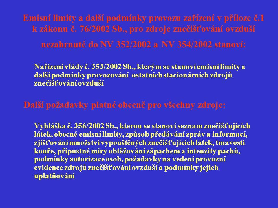 Emisní limity a další podmínky provozu zařízení v příloze č.1 k zákonu č. 76/2002 Sb., pro zdroje znečišťování ovzduší nezahrnuté do NV 352/2002 a NV