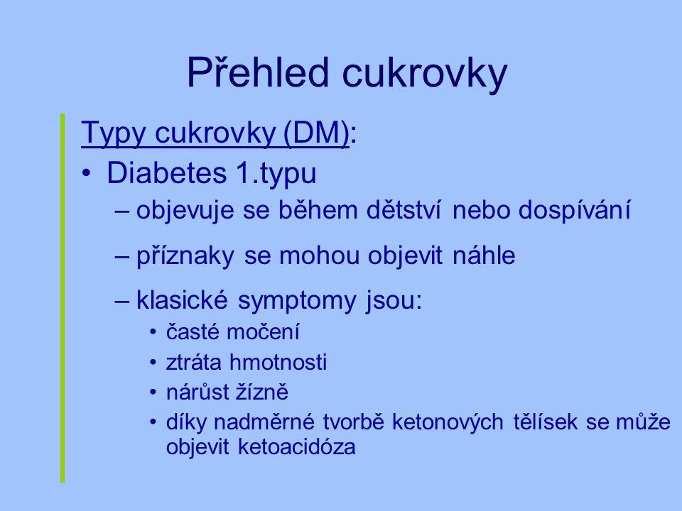 Přehled cukrovky Typy cukrovky (DM): Diabetes 1.typu –objevuje se během dětství nebo dospívání –příznaky se mohou objevit náhle –klasické symptomy jso