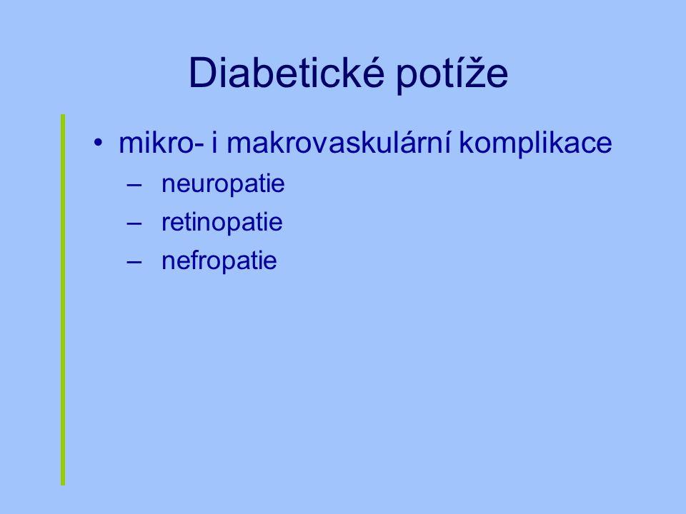 Diabetické potíže mikro- i makrovaskulární komplikace –neuropatie –retinopatie –nefropatie