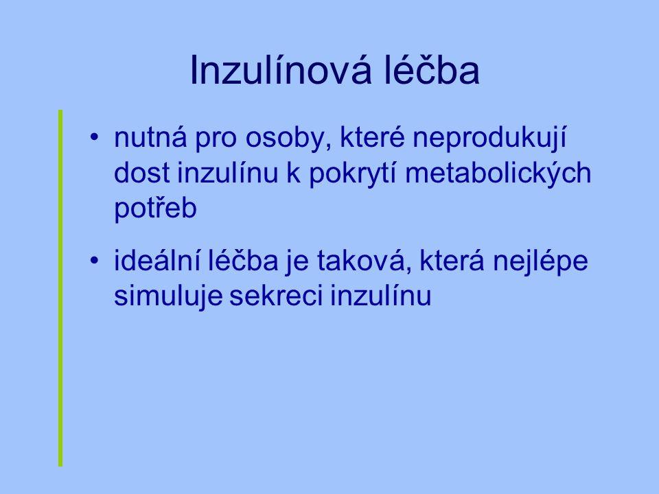 Inzulínová léčba nutná pro osoby, které neprodukují dost inzulínu k pokrytí metabolických potřeb ideální léčba je taková, která nejlépe simuluje sekre