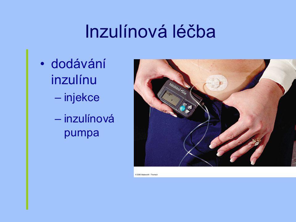 Inzulínová léčba dodávání inzulínu –injekce –inzulínová pumpa