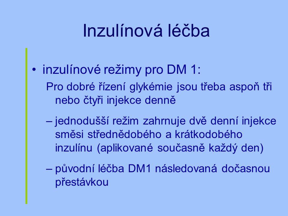 Inzulínová léčba inzulínové režimy pro DM 1: Pro dobré řízení glykémie jsou třeba aspoň tři nebo čtyři injekce denně –jednodušší režim zahrnuje dvě de