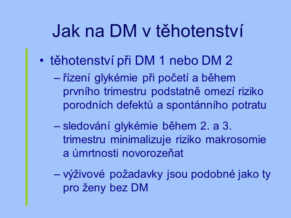 Jak na DM v těhotenství těhotenství při DM 1 nebo DM 2 –řízení glykémie při početí a během prvního trimestru podstatně omezí riziko porodních defektů