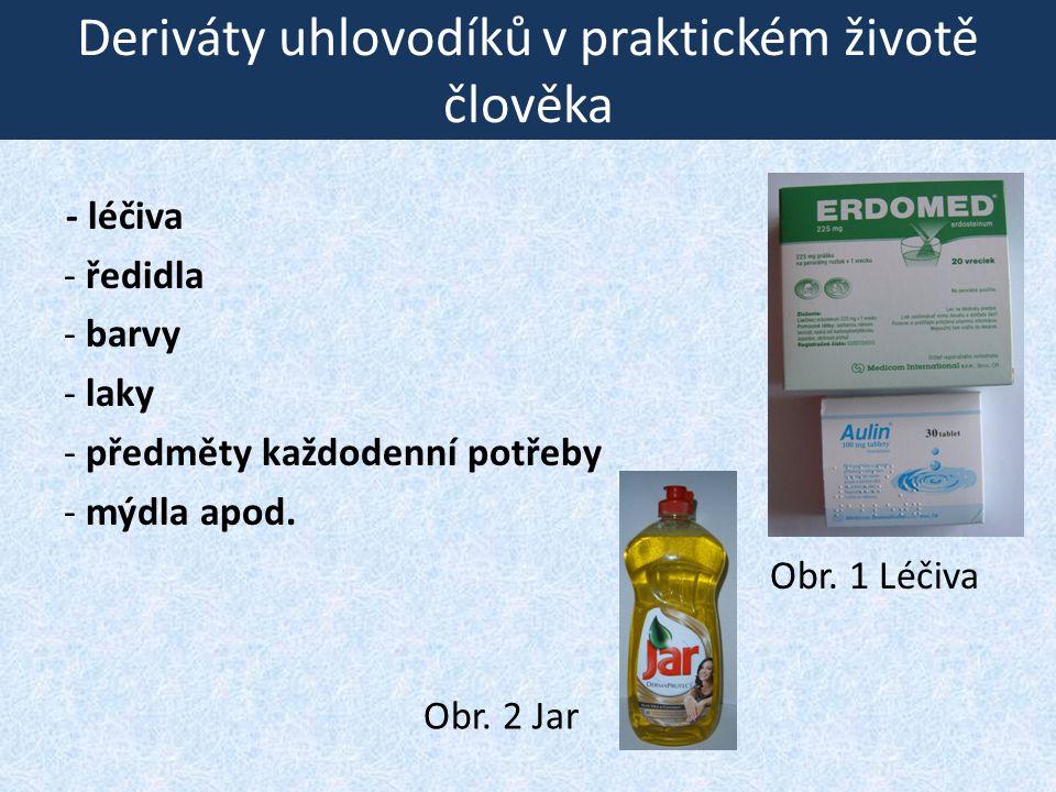 Deriváty uhlovodíků v praktickém životě člověka - léčiva - ředidla - barvy - laky - předměty každodenní potřeby - mýdla apod. Obr. 1 Léčiva Obr. 2 Jar