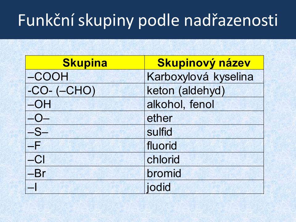 Funkční skupiny podle nadřazenosti SkupinaSkupinový název –COOHKarboxylová kyselina -CO- (–CHO)keton (aldehyd) –OHalkohol, fenol –O–ether –S–sulfid –F
