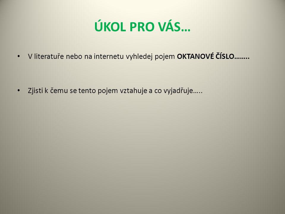 ÚKOL PRO VÁS… V literatuře nebo na internetu vyhledej pojem OKTANOVÉ ČÍSLO……..