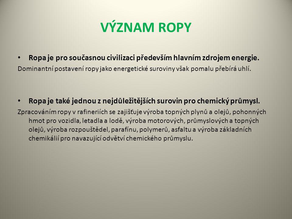 VÝZNAM ROPY Ropa je pro současnou civilizaci především hlavním zdrojem energie.