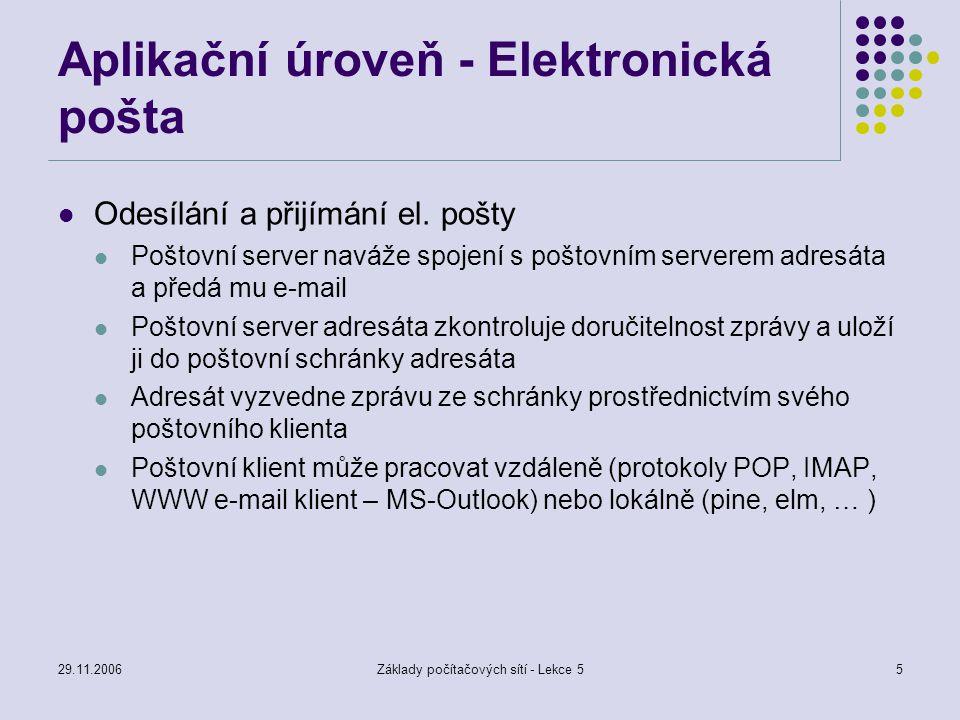 29.11.2006Základy počítačových sítí - Lekce 55 Aplikační úroveň - Elektronická pošta Odesílání a přijímání el.