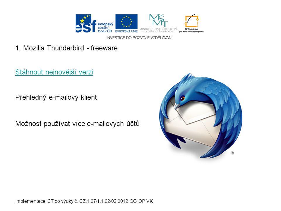 Implementace ICT do výuky č. CZ.1.07/1.1.02/02.0012 GG OP VK 1. Mozilla Thunderbird