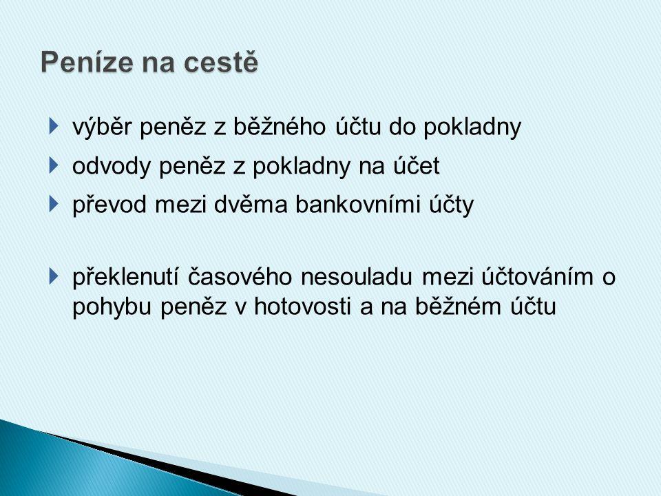 Schéma účtování: a) výběr peněz z účtu do pokladny Bankovní účty Peníze na cestě Pokladna výpis z BÚ b) odvod peněz z pokladny na účet Pokladna Peníze na cestě Bankovní účty PPD výpis z BÚ VPD