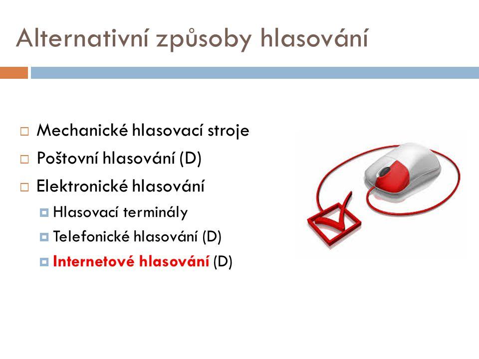 Alternativní způsoby hlasování  Mechanické hlasovací stroje  Poštovní hlasování (D)  Elektronické hlasování  Hlasovací terminály  Telefonické hla